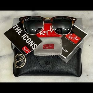 Ray-Ban Clubmaster Tortoise & GoldAccented Classic Polarized Men's Sunglasses